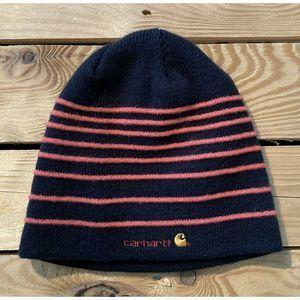 Carhartt Beanie In Navy/red Stripe Winter Hat Warm